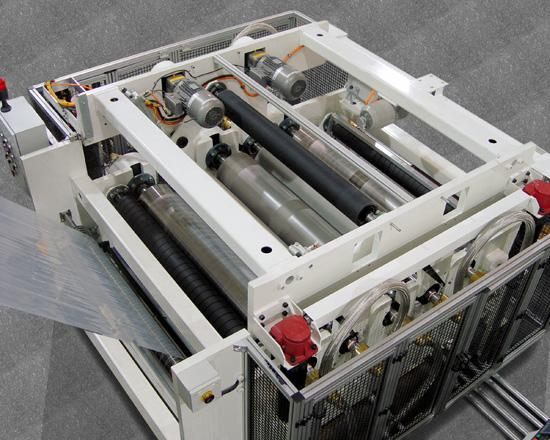 The slitting and stretching unit creates multiple lanes of film with precisely controlled stretch